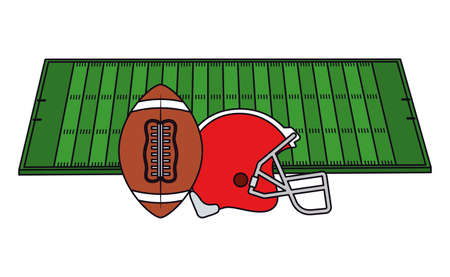 Helmet and ball design, American football super bowl sport hobby competition game training equipment tournement and play theme Vector illustration Illusztráció