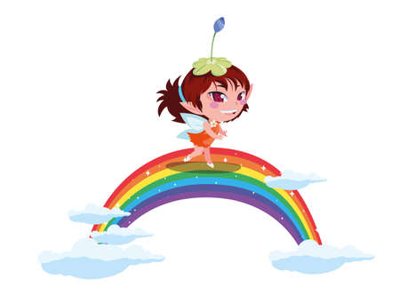 beautiful magic fairy in rainbow character vector illustration design