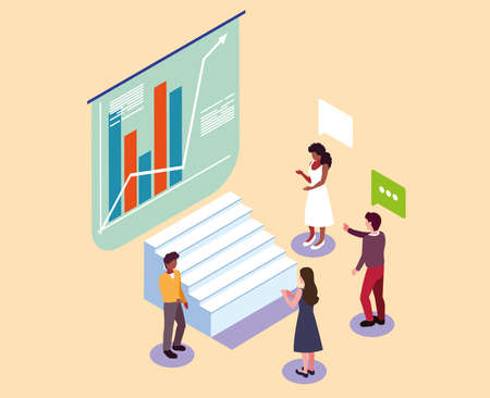 group of people with graphs in front, business working processes and brainstorming vector illustration design