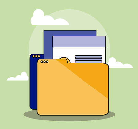 File document and clouds design, Data archive storage organize business office and information theme Vector illustration Çizim