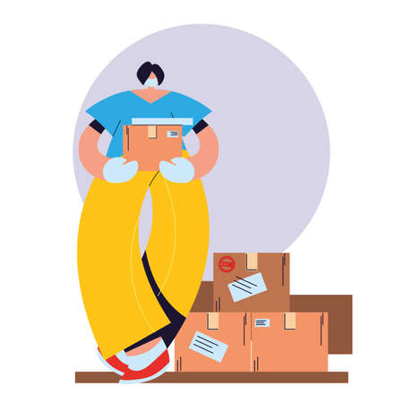 woman with mask, gloves and shipping packages vector illustration desing Vektorové ilustrace