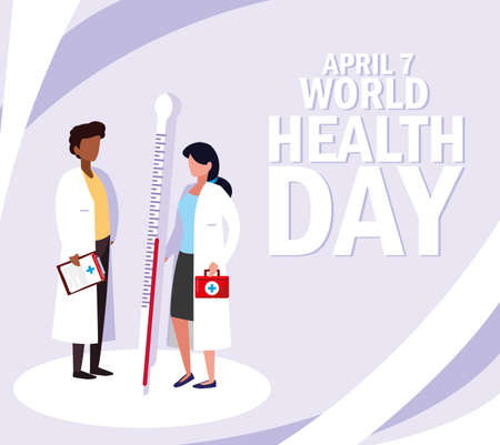 world health day with couple doctors and icons vector illustration design Stock Illustratie