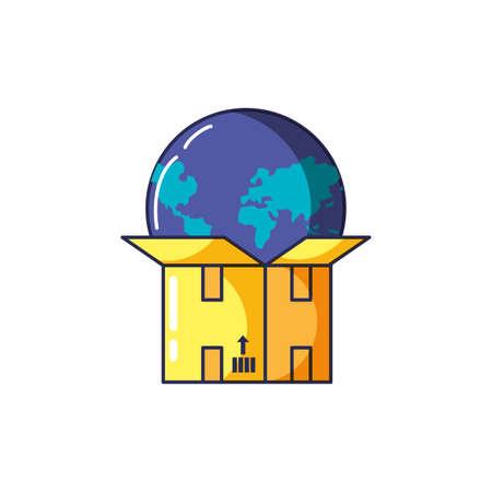 box carton open with planet earth vector illustration design Illusztráció