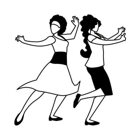 silhouette of women in dance pose on white background vector illustration design