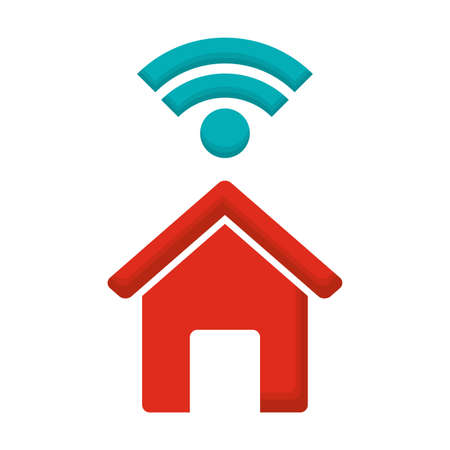 red house shape and wireless symbol over white background, vector illustration