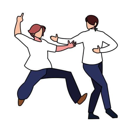 men in pose of dancing on white background vector illustration design Illusztráció