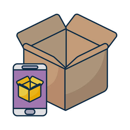 parcel delivery tracking on the smartphone on white background vector illustration design