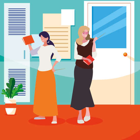 female teachers couple with textbooks in school corridor vector illustration design