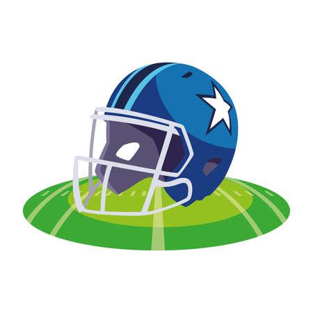 american football helmet on stadium grass vector illustration design