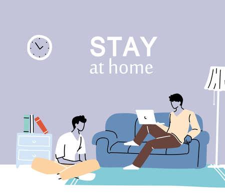 men at home doing activities vector desing illustration
