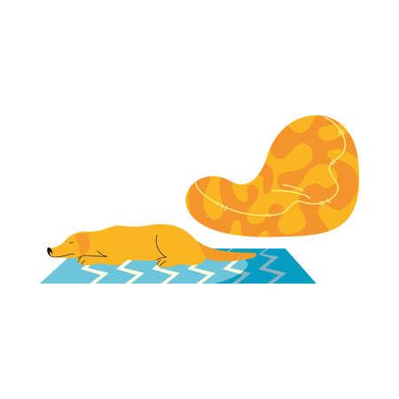 dog resting on living room mat vector illustration design
