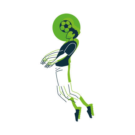 Player man with ball design, Soccer football sport hobby competition and game theme Vector illustration