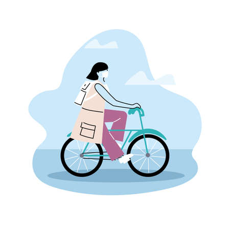woman avatar on bicycle, riding bike vector illustration design