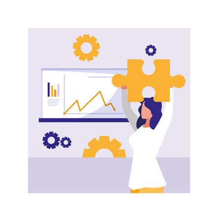 businesswoman with graphs in front, business working processes