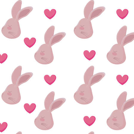 pattern of heads rabbits with hearts vector illustration design
