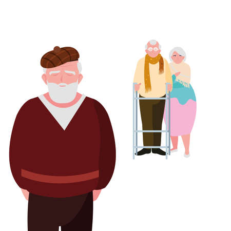 old people sharing at home vector illustration design  イラスト・ベクター素材