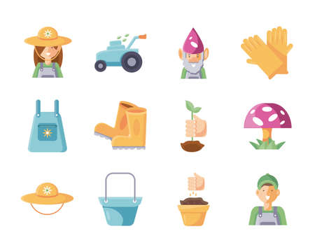 gardening ornaments and equipment icon set over white background, flat detail style, vector illustration