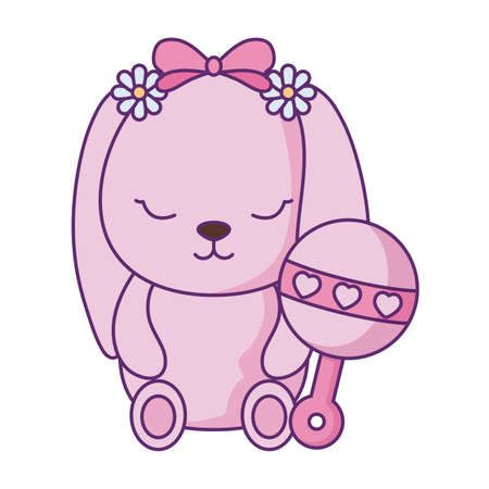 cute little bunny baby with jingle bell vector illustration design Ilustração