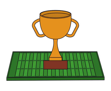 Trophy over field design, American football super bowl sport hobby competition game training equipment tournement and play theme Vector illustration