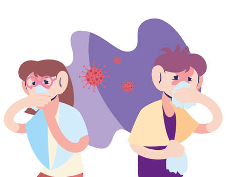 couple young with virus symptoms vector illustration design