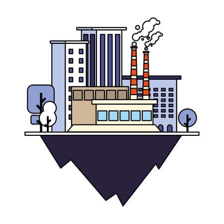 industrial building over terrain over white background vector illustration design