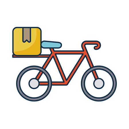 bicycle with cardboard box on white background vector illustration design Illusztráció