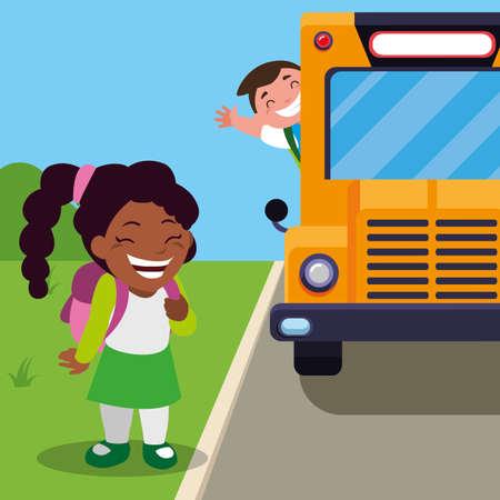 happy little interracial school kids in the bus stop vector illustration design Ilustração