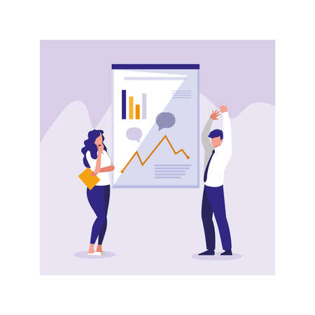 people of business with graphs in front, business working processes vector illustration design Illusztráció