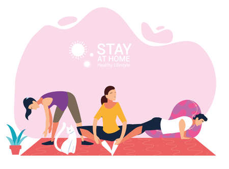 people doing stretching and strength exercises at home vector illustration design