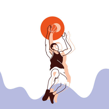 Player man with ball jumping design, Basketball sport hobby competition and game theme Vector illustration