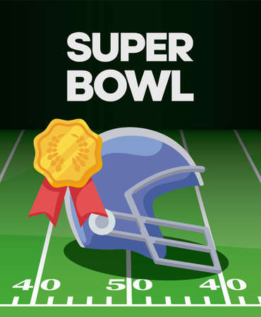 Helmet and gold seal stamp over field design, Super bowl american football sport hobby competition game training equipment tournement and play theme Vector illustration