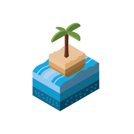 Isometric palm tree and sea design, Summer nature element earth eco ecology conservation bio environment and outdoor theme Vector illustration