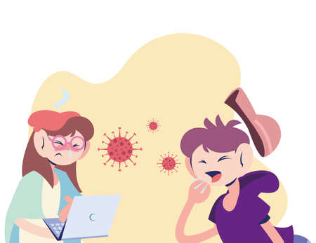 mom working with sick son vector illustration design Ilustrace