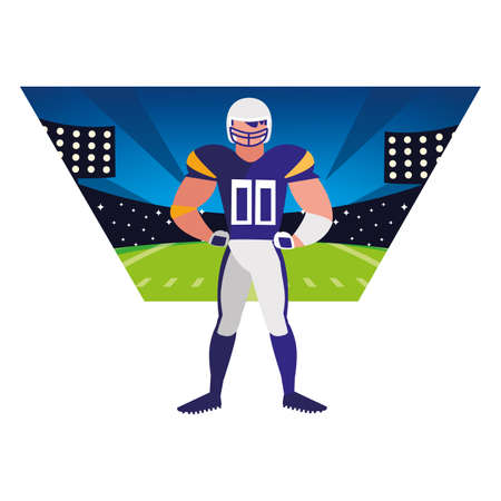 man football player of rugby , sportsman with uniform vector illustration design