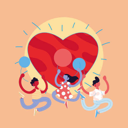 girl and boys cartoons with balloons and heart design, Kid childhood little people lifestyle casual person cheerful and cute theme Vector illustration