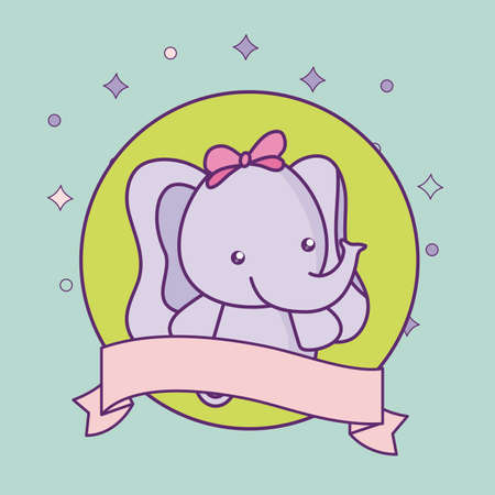 cute little elephant baby with ribbon vector illustration design