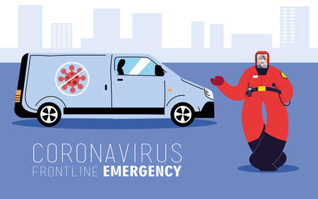 First-line emergency doctor wearing a protective suit to avoid contagion of coronavirus vector illustration design  イラスト・ベクター素材