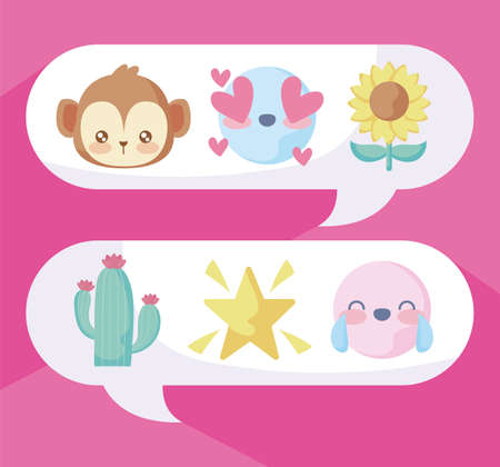 chats bubbles with cute emojis over pink background, colorful design, vector illustration