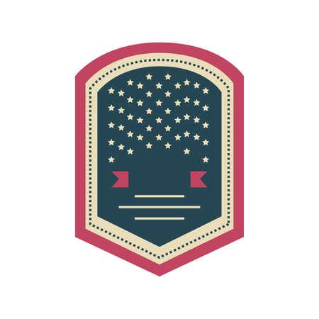 badge with american flag on white background vector illustration design Vetores