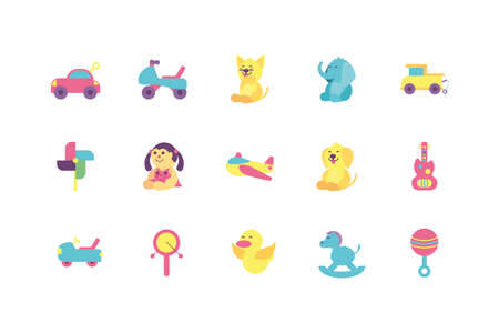 toys icon set design of Childhood play fun kid game gift object little and present theme Vector illustration Vectores