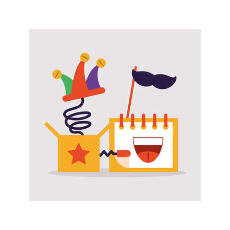 calendar with reminder fools day, humorous party vector illustration design