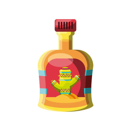tequila bottle, traditional Mexican drink on white background vector illustration design