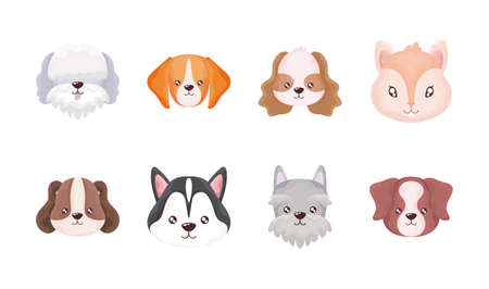 set of heads of cats and dogs on white background vector illustration design  イラスト・ベクター素材