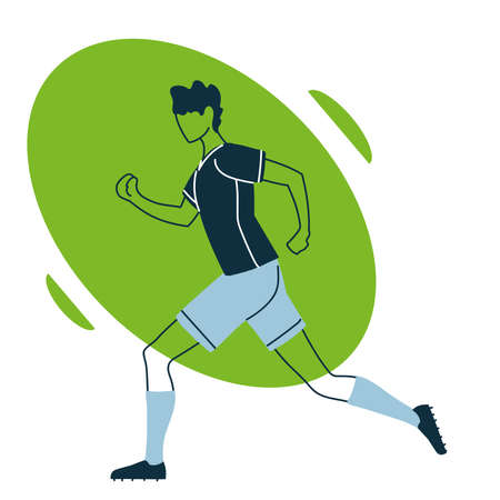 Player man with uniform in aerodynamic position design, Soccer football sport hobby competition and game theme Vector illustration
