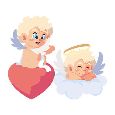 cute cupid angels in different poses on white background vector illustration design Vettoriali