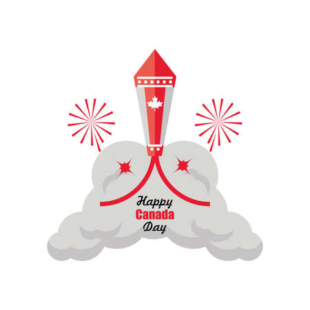 happy Canada day with firework, national holiday vector illustration design