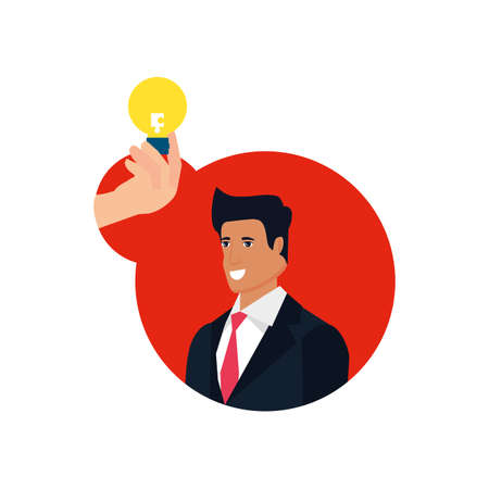 businessman with puzzle piece in shape light bulb vector illustration design Illustration