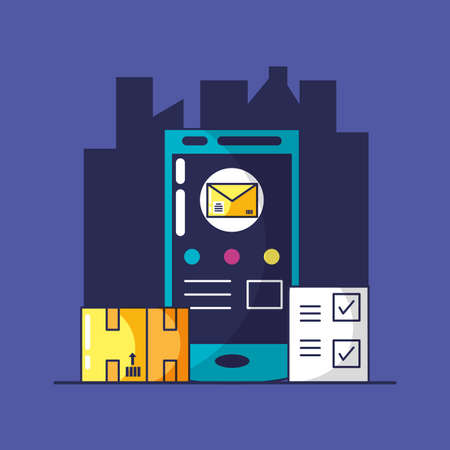 delivery service with smartphone and icons vector illustration design