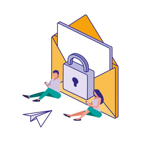 Envelope padlock and people design of Security system warning protection danger web alert and safe theme Vector illustration