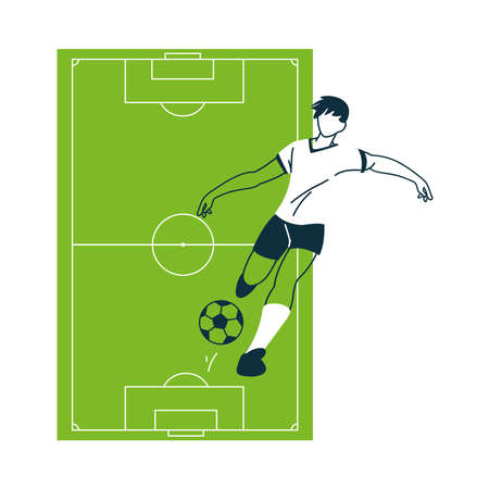 Player man with ball and court design, Soccer football sport hobby competition and game theme Vector illustration Illusztráció